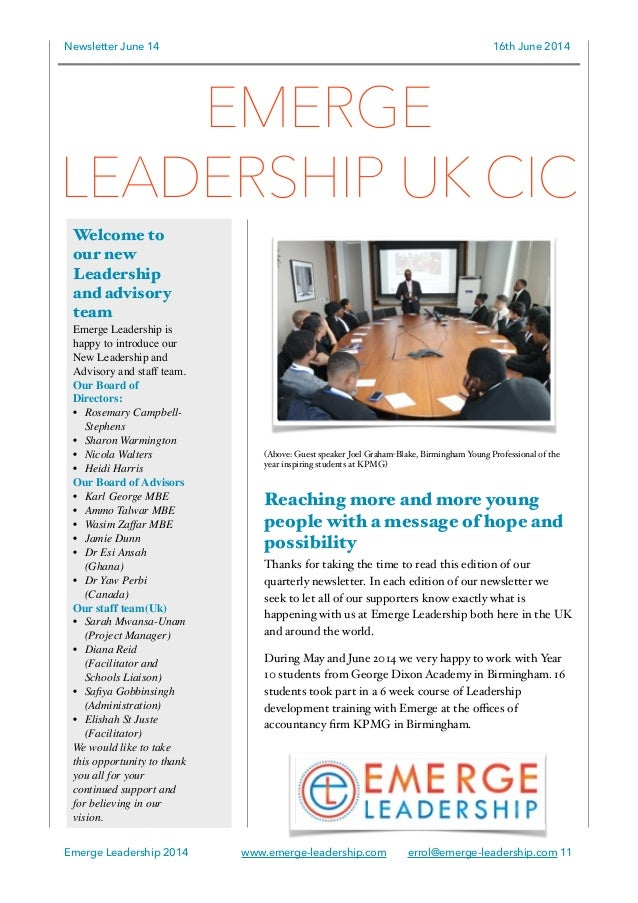 Newsletter June 14 16th June 2014 (Above: Guest speaker Joel Graham-Blake, Birmingham Young Professional of the year inspi...