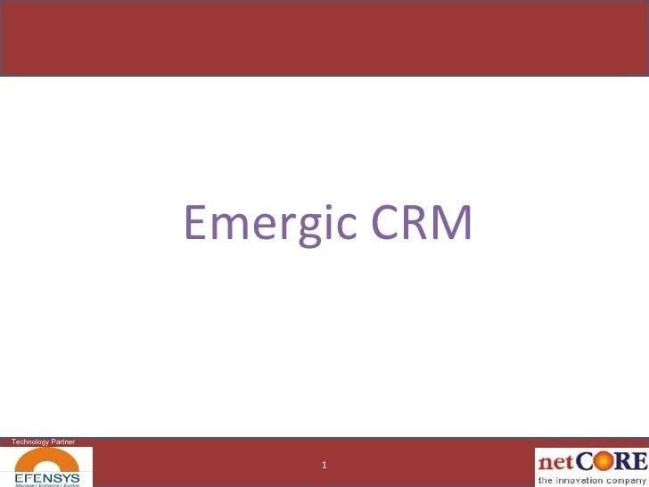 Emergic CRM 1 Technology Partner