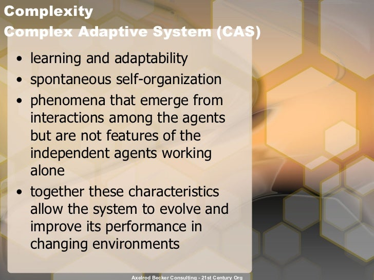 Complexity  Complex Adaptive System (CAS) <ul><li>learning and adaptability </li></ul><ul><li>spontaneous self-organizatio...