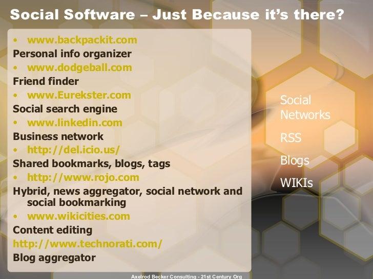 Social Software – Just Because it's there? <ul><li>www.backpackit.com </li></ul><ul><li>Personal info organizer </li></ul>...