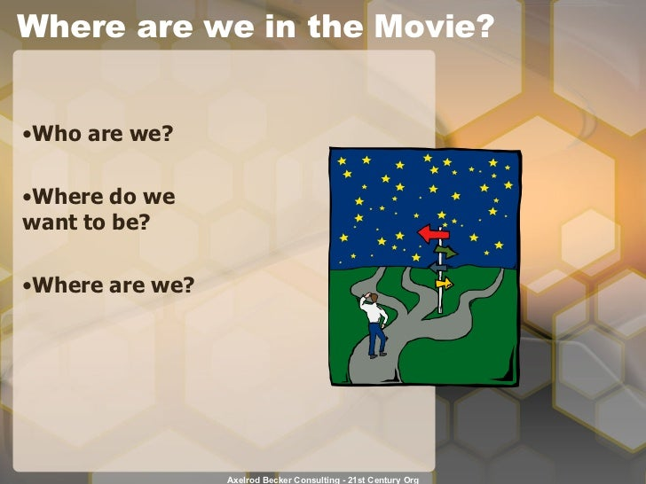Where are we in the Movie? <ul><li>Who are we? </li></ul><ul><li>Where do we want to be? </li></ul><ul><li>Where are we? <...