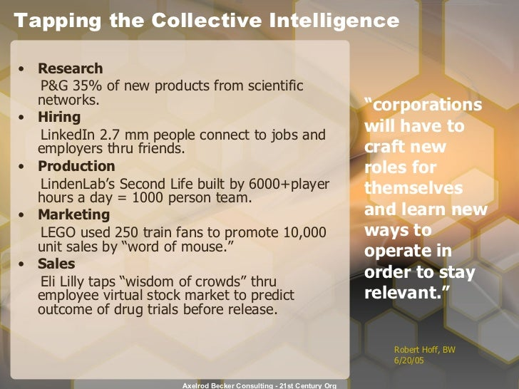 Tapping the Collective Intelligence <ul><li>Research </li></ul><ul><li>P&G 35% of new products from scientific networks. <...