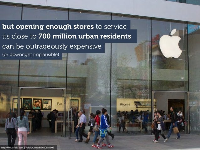 its close to 700 million urban residents but opening enough stores to service can be outrageously expensive http://www.flic...