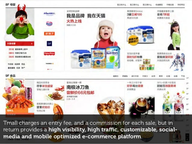 Tmall charges an entry fee, and a commission for each sale, but in return provides a high visibility, high traffic, customiz...