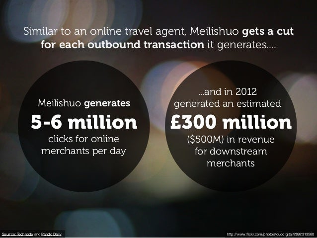 Sourrce: Technode and Pando Daily 5-6 million Meilishuo generates clicks for online merchants per day £300 million ...and ...