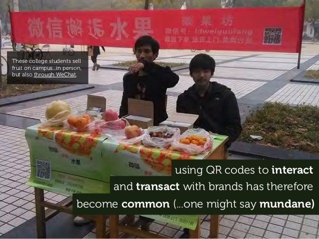 using QR codes to interact and transact with brands has therefore become common (...one might say mundane) These college s...