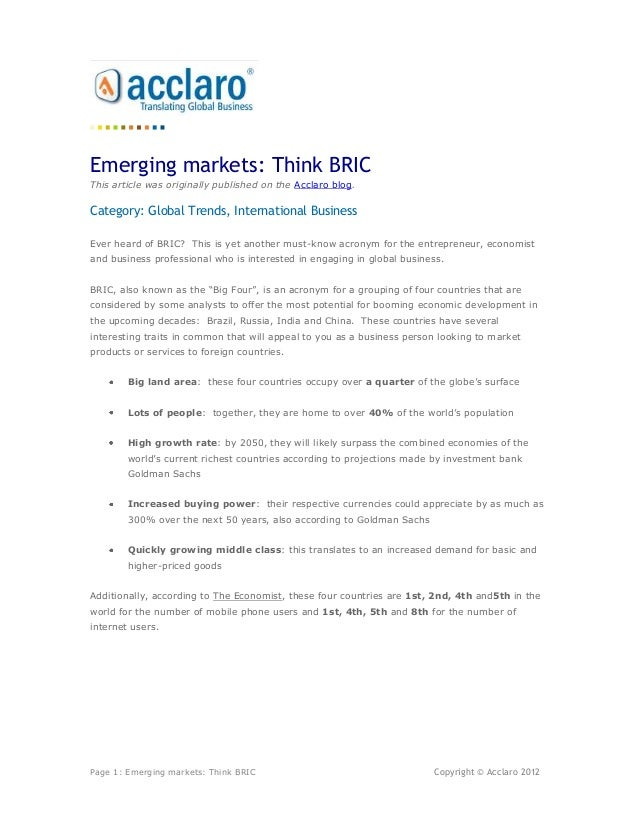 Emerging markets: Think BRICThis article was originally published on the Acclaro blog.Category: Global Trends, Internation...