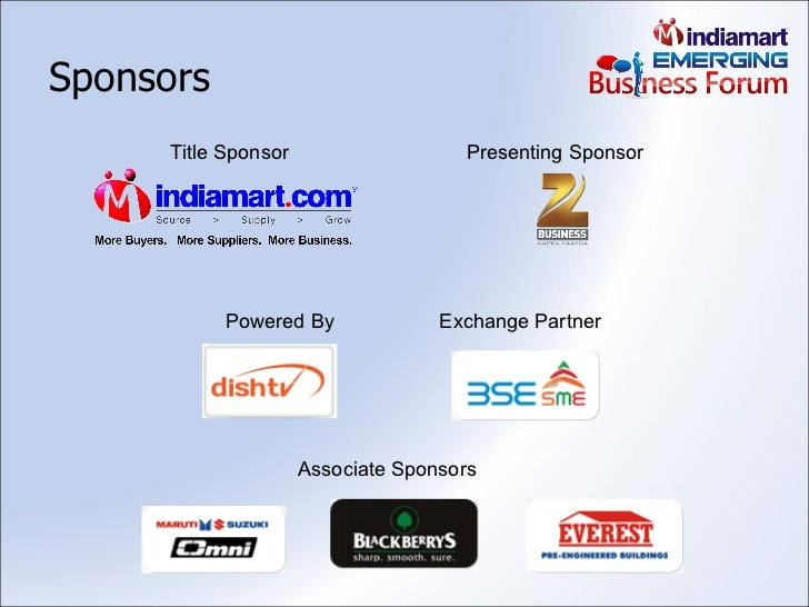 Sponsors Title Sponsor Presenting Sponsor Powered By Associate Sponsors Exchange Partner