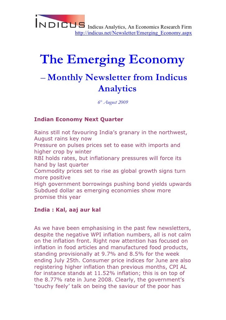 Indicus Analytics, An Economics Research Firm                http://indicus.net/Newsletter/Emerging_Economy.aspx       The...