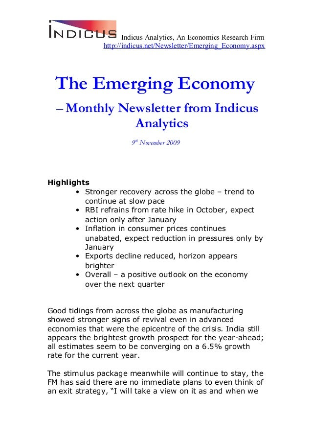 Indicus Analytics, An Economics Research Firm http://indicus.net/Newsletter/Emerging_Economy.aspx The Emerging Economy – M...