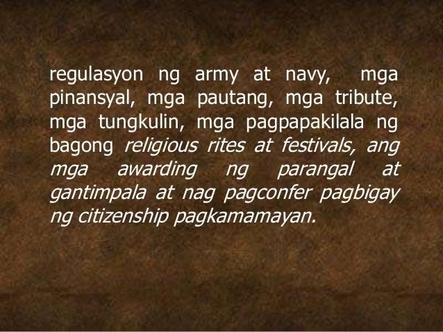 regulasyon ng army at navy, mga pinansyal, mga pautang, mga tribute, mga tungkulin, mga pagpapakilala ng bagong religious ...