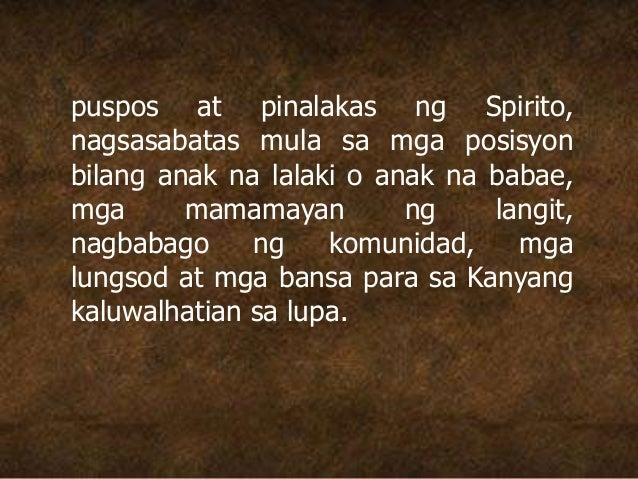 puspos at pinalakas ng Spirito, nagsasabatas mula sa mga posisyon bilang anak na lalaki o anak na babae, mga mamamayan ng ...