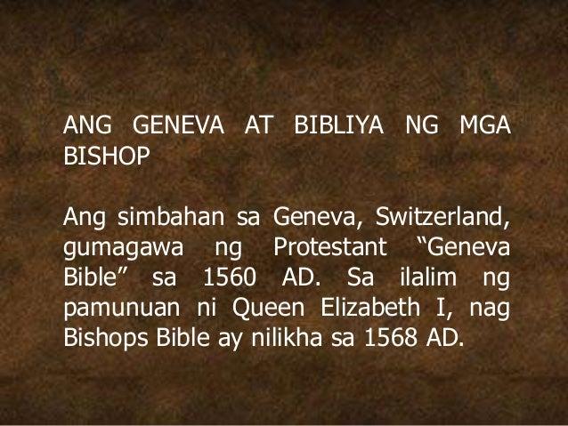 """ANG GENEVA AT BIBLIYA NG MGA BISHOP Ang simbahan sa Geneva, Switzerland, gumagawa ng Protestant """"Geneva Bible"""" sa 1560 AD...."""