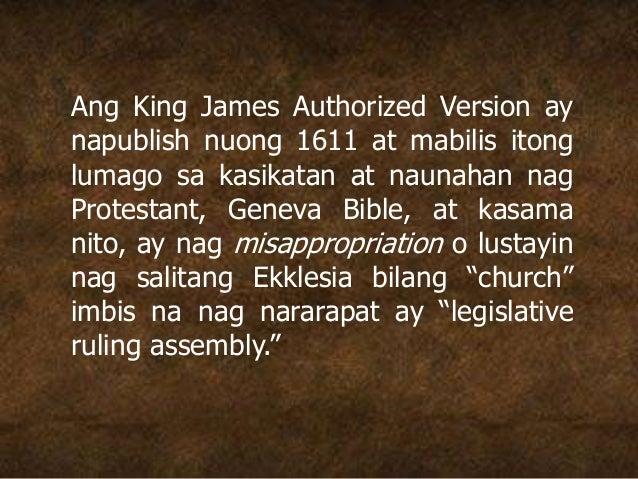 Ang King James Authorized Version ay napublish nuong 1611 at mabilis itong lumago sa kasikatan at naunahan nag Protestant,...