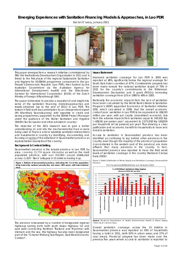 Page 1 of 15 Emerging Experiences with Sanitation Financing Models & Approaches, in Lao PDR. Declan O'Leary, January 2013,...
