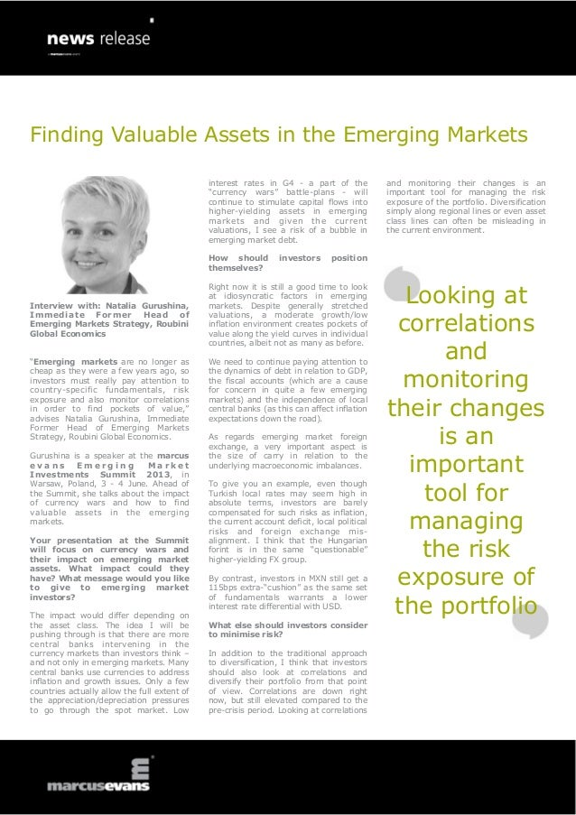 Finding Valuable Assets in the Emerging MarketsInterview with: Natalia Gurushina,Immediate Former Head ofEmerging Markets ...