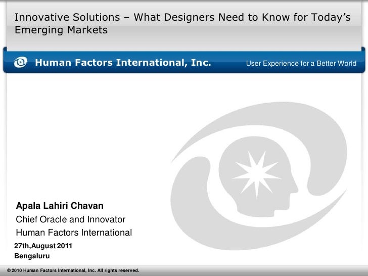Innovative Solutions – What Designers Need to Know for Today's   Emerging Markets            Human Factors International, ...