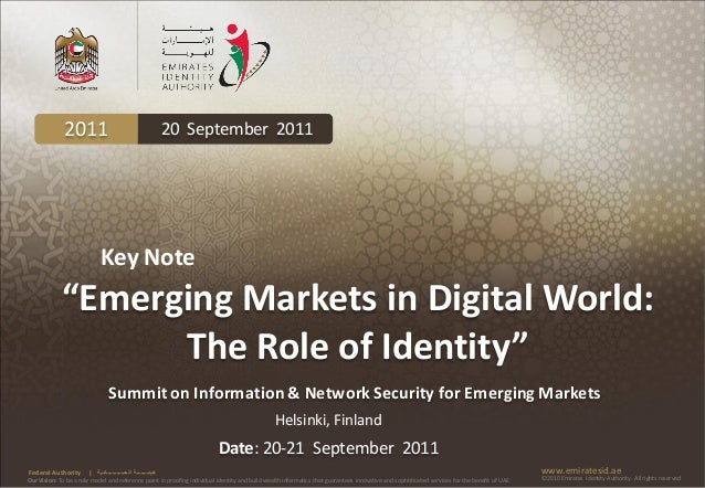"""2011                                           20 September 2011                             Key Note             """"Emergin..."""