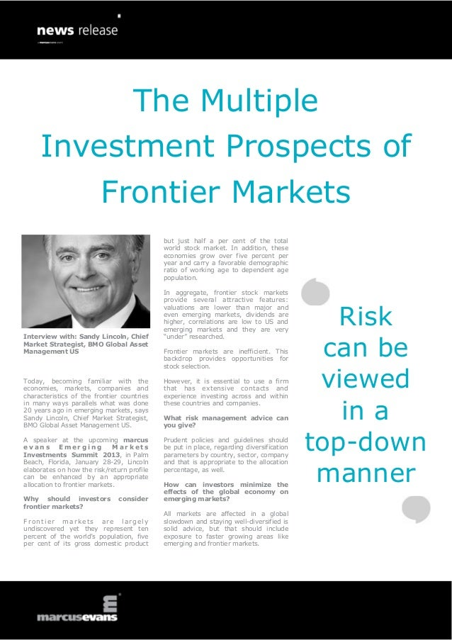 The Multiple     Investment Prospects of                         Frontier Markets                                         ...