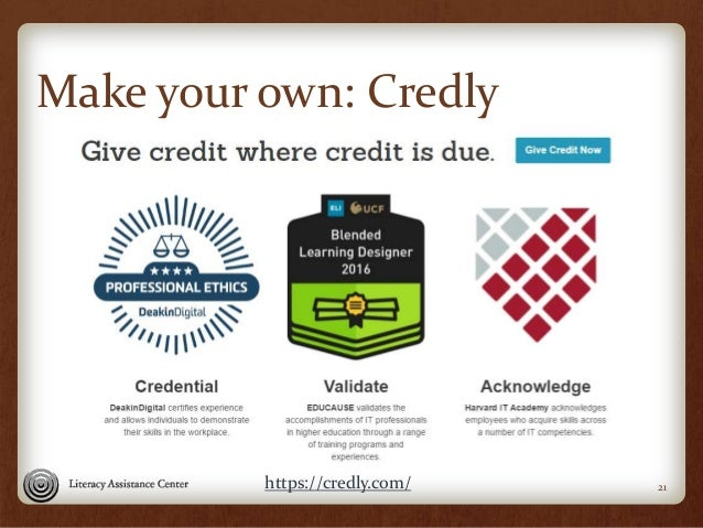 Make your own: Credly 21https://credly.com/