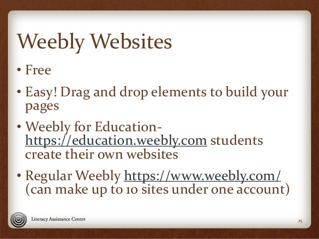 Weebly Websites • Free • Easy! Drag and drop elements to build your pages • Weebly for Education- https://education.weebly...