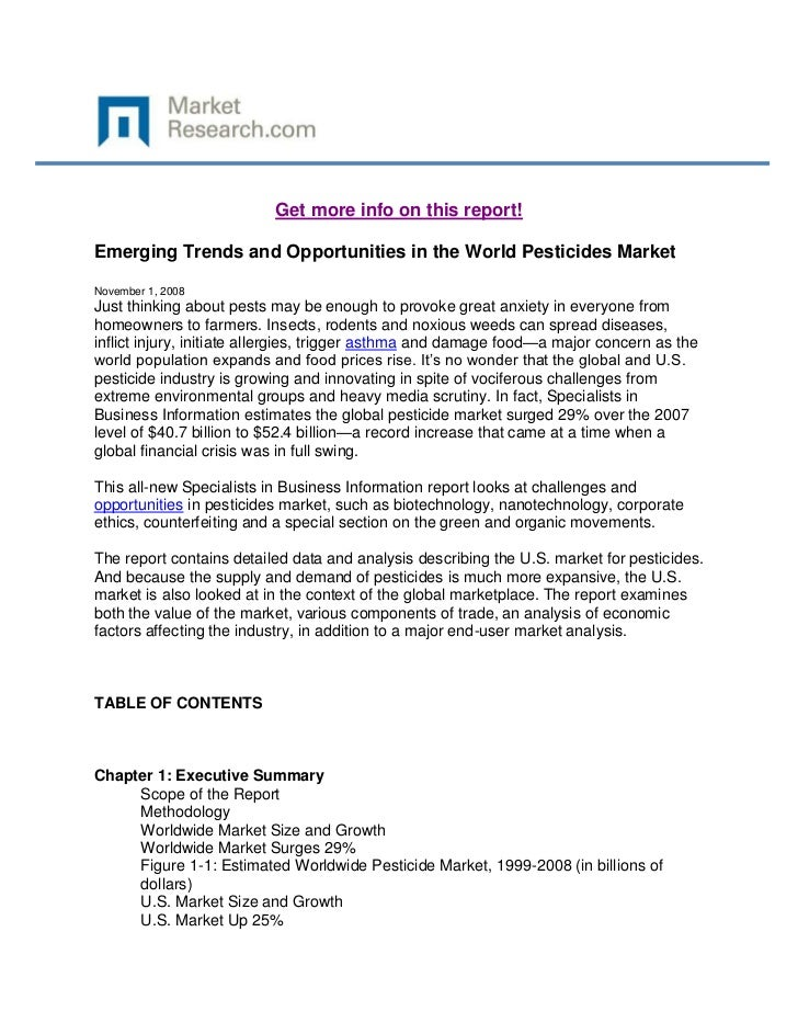 Get more info on this report!Emerging Trends and Opportunities in the World Pesticides MarketNovember 1, 2008Just thinking...