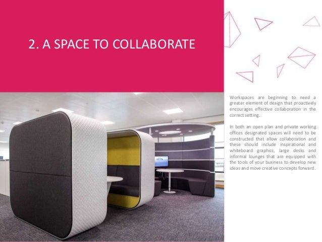 2. A SPACE TO COLLABORATE Workspaces are beginning to need a greater element of design that proactively encourages effecti...