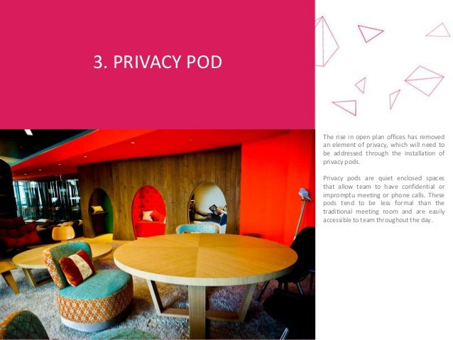 3. PRIVACY POD The rise in open plan offices has removed an element of privacy, which will need to be addressed through th...