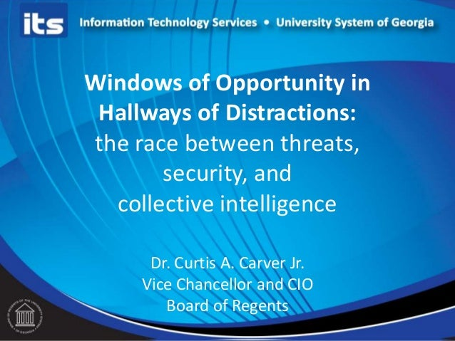 Windows of Opportunity inHallways of Distractions:the race between threats,security, andcollective intelligenceDr. Curtis ...