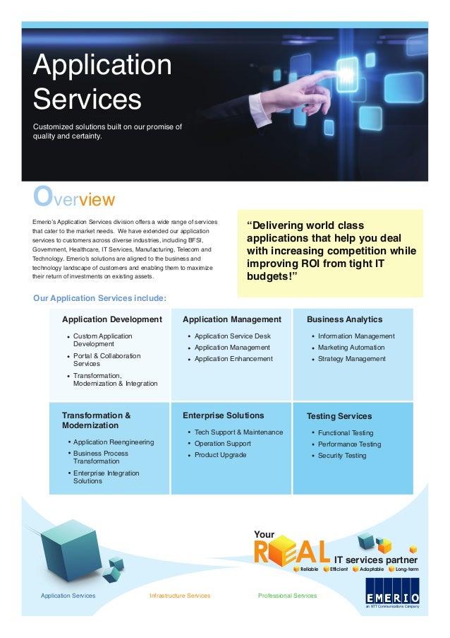 Reliable Efficient Adaptable Long-term Your R ALIT services partner Our Application Services include: Application Developm...