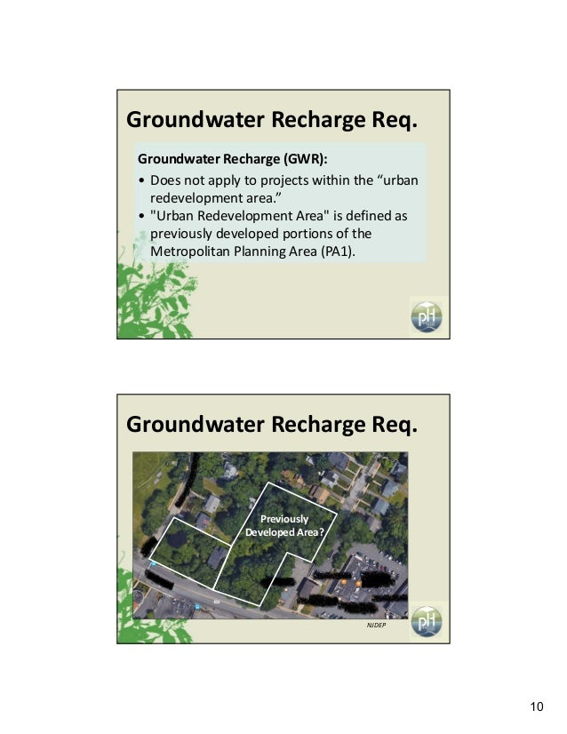 """10 GroundwaterRechargeReq. GroundwaterRecharge(GWR): • Doesnotapplytoprojectswithinthe""""urban redevelopmentare..."""