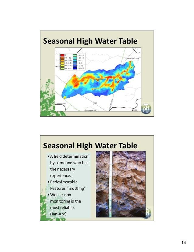 14 USGS SeasonalHighWaterTable • Afielddetermination bysomeonewhohas thenecessary experience. • Redoximorphic ...