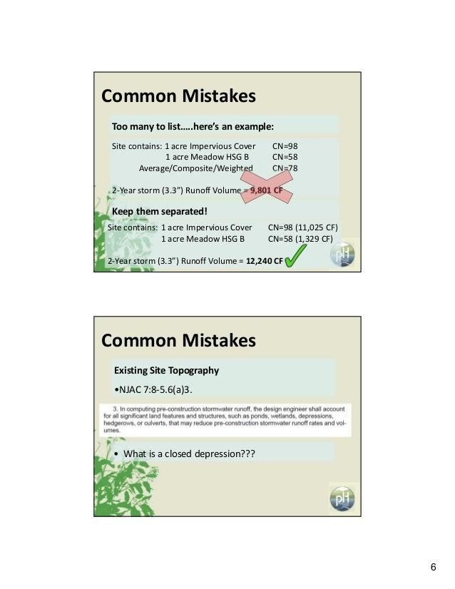 6 CommonMistakes Toomanytolist…..here'sanexample: Sitecontains:1acreImperviousCover CN=98 1acreMeadowHSGB C...