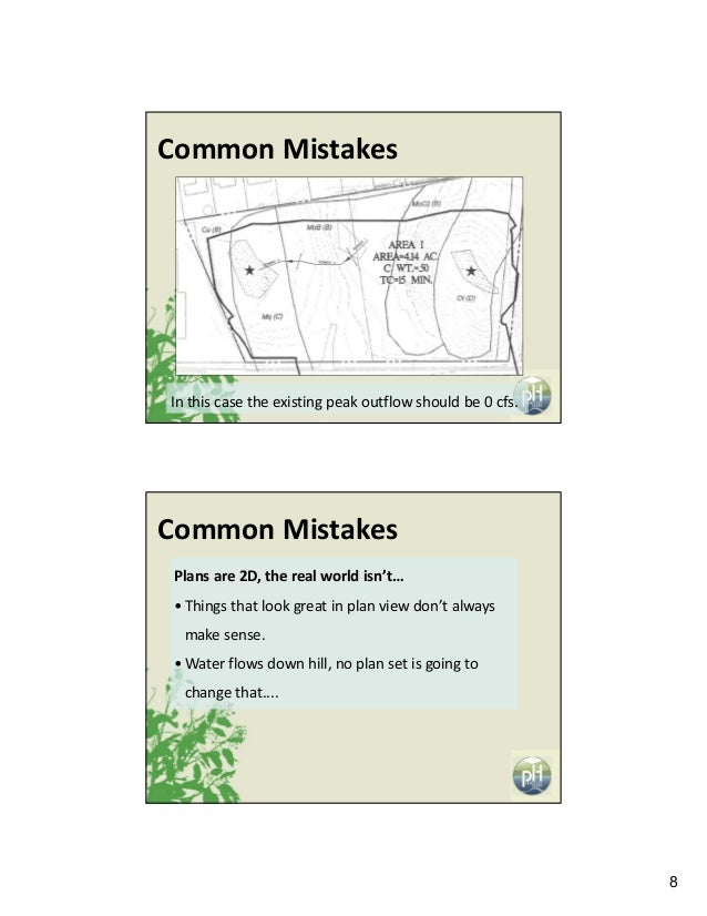 8 Inthiscasetheexistingpeakoutflowshouldbe0cfs. CommonMistakes CommonMistakes Plansare2D,therealworldisn...