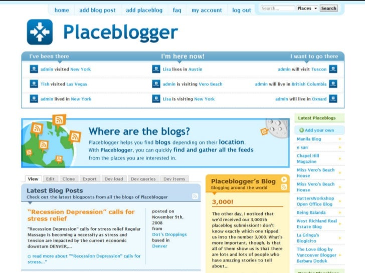Screenshot	  of	  Placeblogger                               	                            placeblogger