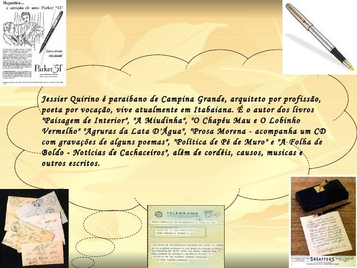 Jessier Quirino  é paraibano de Campina Grande, arquiteto por profissão, poeta por vocação, vive atualmente em Itabaiana. ...