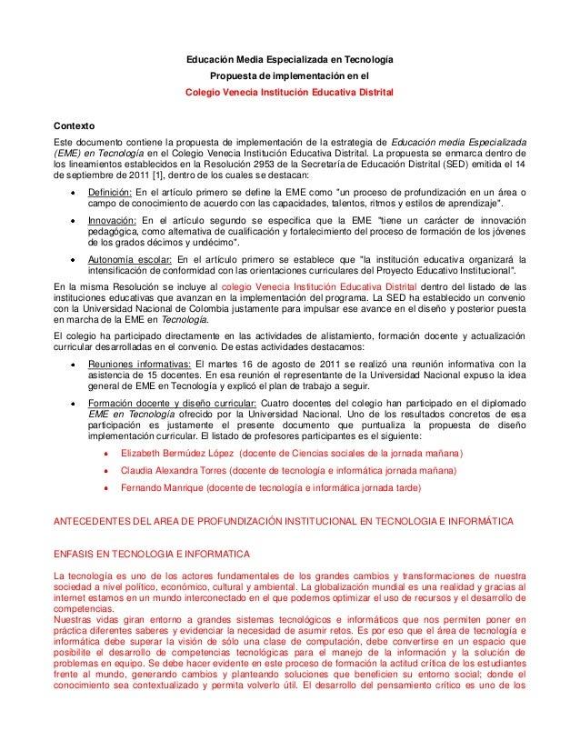 Educación Media Especializada en Tecnología Propuesta de implementación en el Colegio Venecia Institución Educativa Distri...