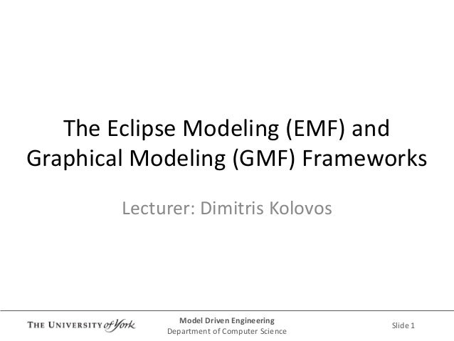 Model Driven Engineering  Department of Computer Science  Slide 1  The Eclipse Modeling (EMF) and Graphical Modeling (GMF)...