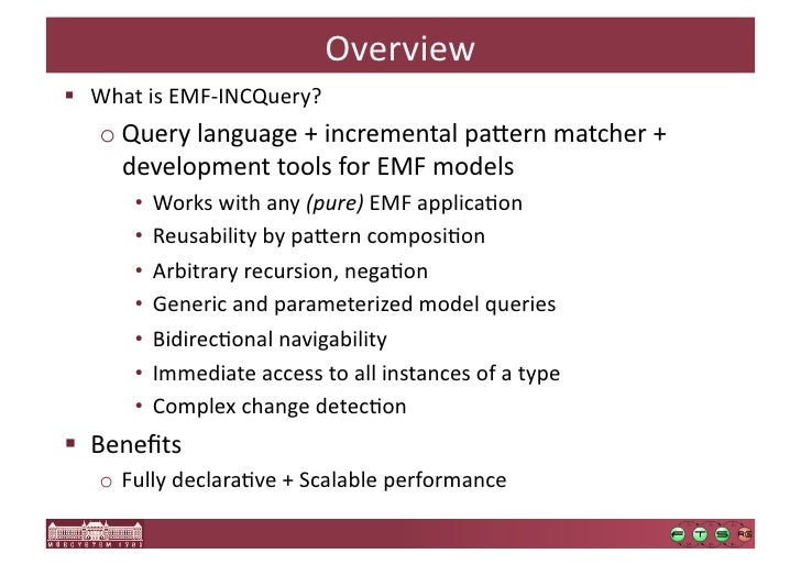 emf incquery incremental evaluation of model queries over emf models emf ‐incquery 27