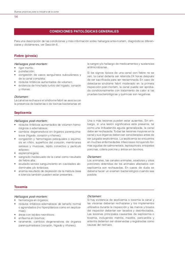 Buenas prácticas para la industria de la carne  14  CONDICIONES PATOLÓGICAS GENERALES Para una descripción de las condicio...