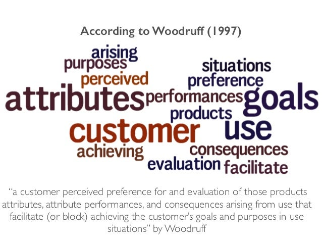 """According to Woodruff (1997) """"a customer perceived preference for and evaluation of those products attributes, attribute p..."""