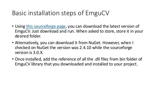emgu cv installation problems