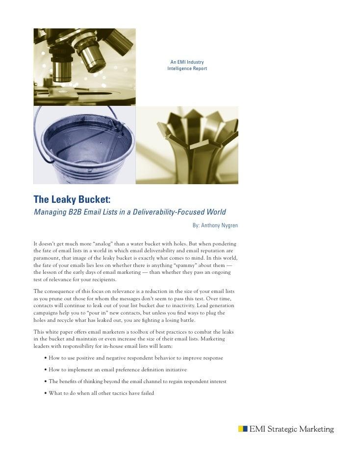 An EMI Industry                                                           Intelligence ReportThe Leaky Bucket:Managing B2B...
