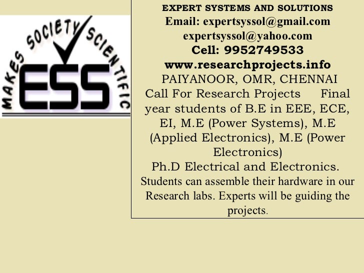 EXPERT SYSTEMS AND SOLUTIONS     Email: expertsyssol@gmail.com        expertsyssol@yahoo.com          Cell: 9952749533    ...
