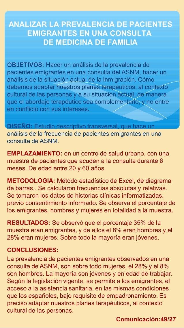 ANALIZAR LA PREVALENCIA DE PACIENTES EMIGRANTES EN UNA CONSULTA DE MEDICINA DE FAMILIA