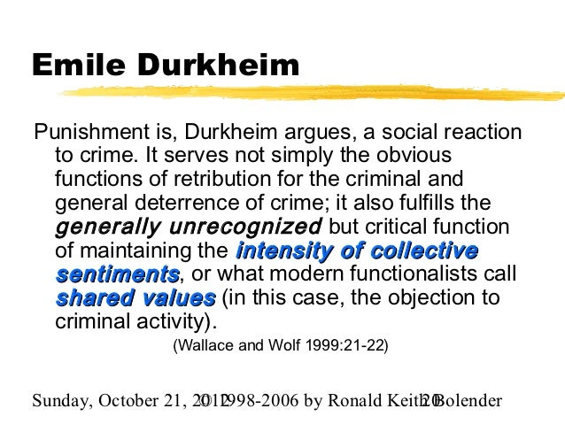Emile Durkheim's Theory of Crime and Crime Causation Essay