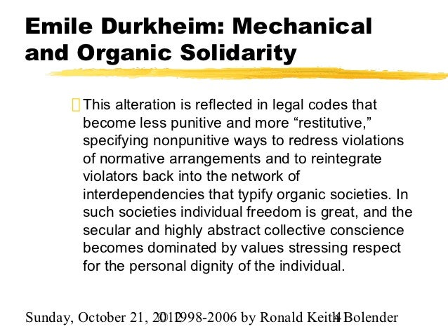 sociology durkheim organic solidarity essay Read this essay on durkheim religion  organic solidarity- the  marx is considered as one of the founders of economic history and sociology emile durkheim.
