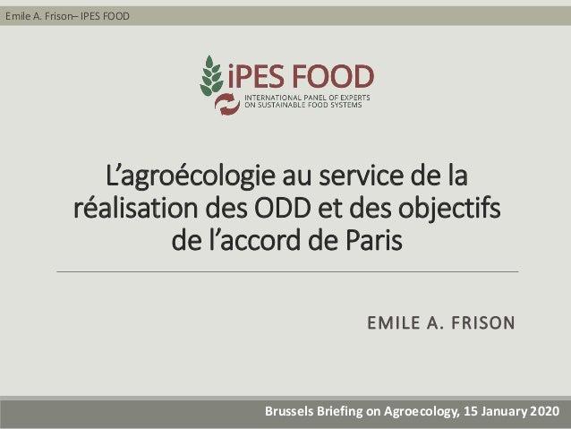 Emile A. Frison– IPES FOOD Brussels Briefing on Agroecology, 15 January 2020 L'agroécologie au service de la réalisation d...