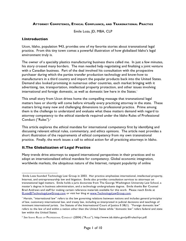 ATTORNEY COMPETENCE, ETHICAL COMPLIANCE,                    AND   TRANSNATIONAL PRACTICE                                  ...