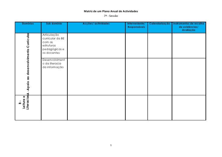 Matriz de um Plano Anual de Actividades                                                                                   ...